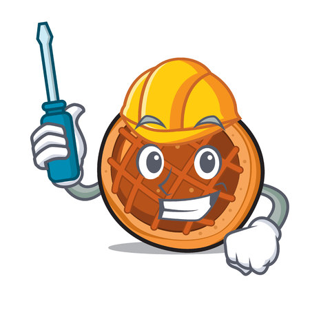 Automotive baked pie mascot cartoon 일러스트