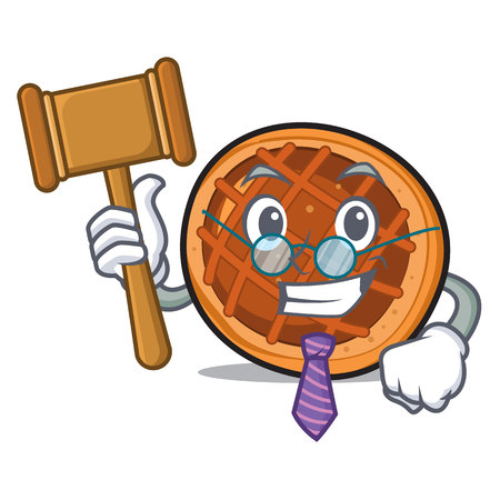 Judge baked pie mascot cartoon
