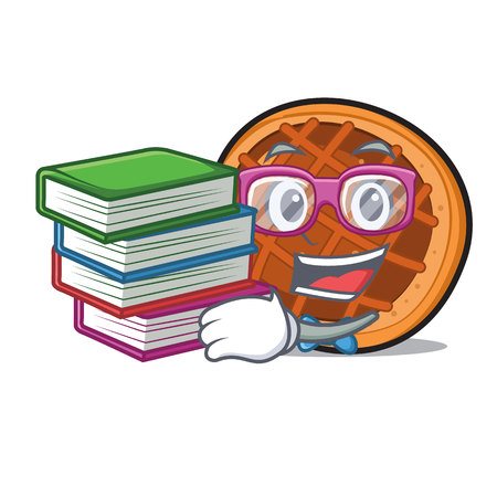 Student with book baked pie mascot cartoon