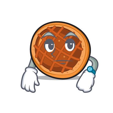 Waiting baker pie mascot cartoon Illustration