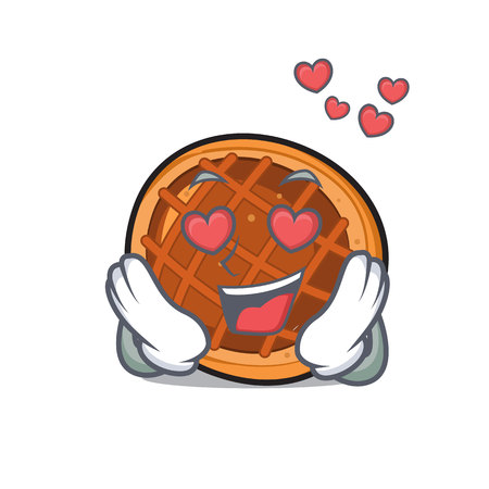 In love baker pie mascot cartoon Illustration