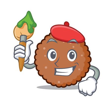 Artist chocolate biscuit character cartoon vector illustration