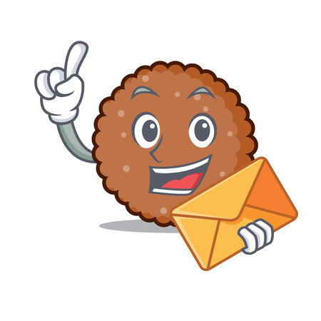 With envelope chocolate biscuit character cartoon vector illustration
