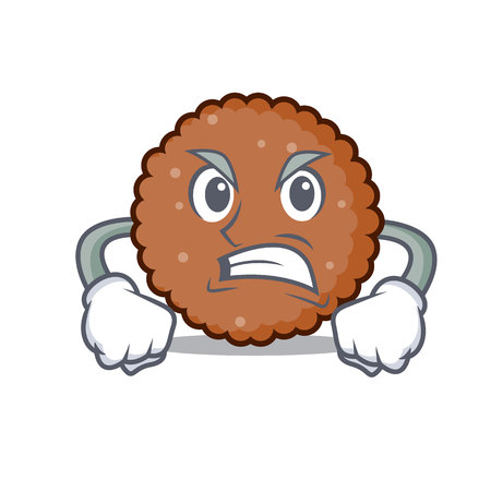 Angry chocolate biscuit mascot cartoon vector illustration  イラスト・ベクター素材