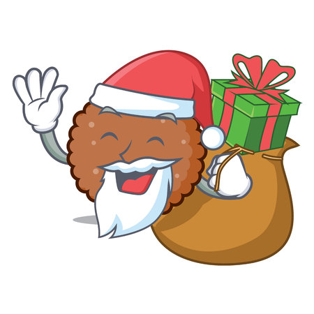 Santa with gift chocolate biscuit mascot cartoon vector illustration Illustration
