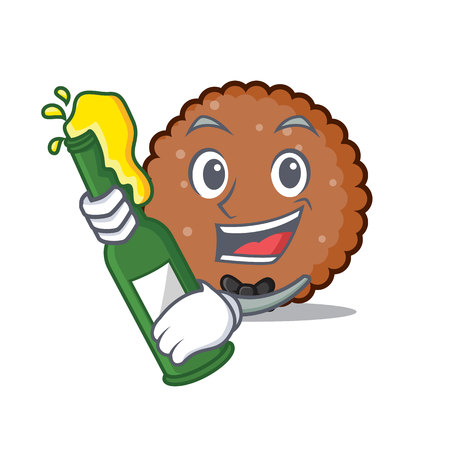 With beer chocolate biscuit mascot cartoon vector illustration Illustration