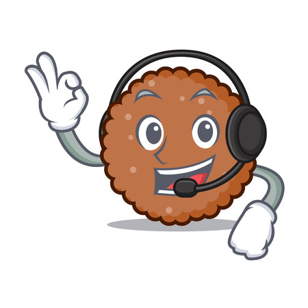With headphone chocolate biscuit mascot cartoon vector illustration