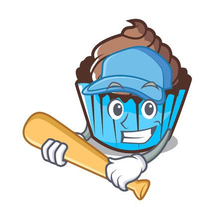 Playing baseball chocolate cupcake character cartoon vector illustration