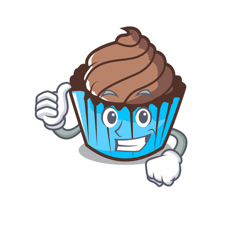 Thumbs up chocolate cupcake character cartoon vector illustration