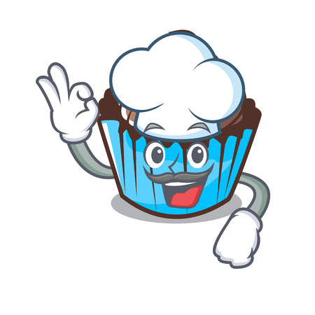 Chef chocolate cupcake character cartoon