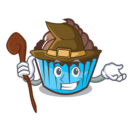 Witch chocolate cupcake mascot cartoon 일러스트