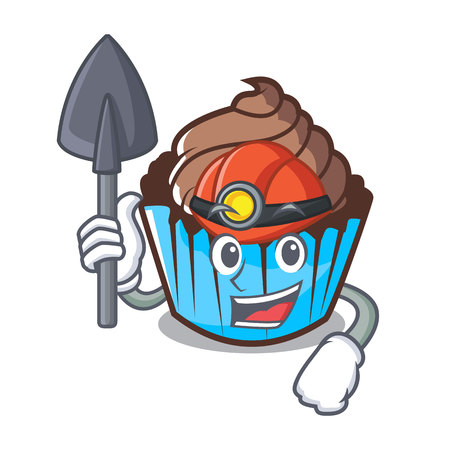 Miner chocolate cupcake mascot cartoon Illustration