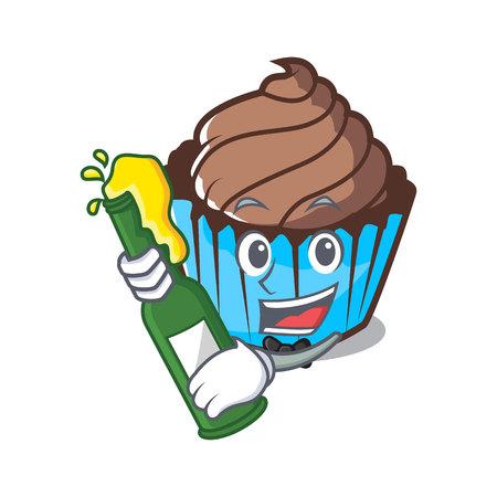 With beer chocolate cupcake mascot cartoon
