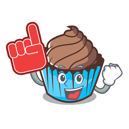 Foam finger chocolate cupcake mascot cartoon Vectores