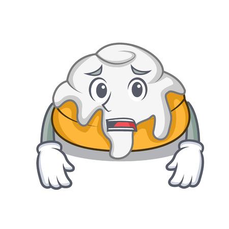 Afraid cinnamon roll mascot cartoon
