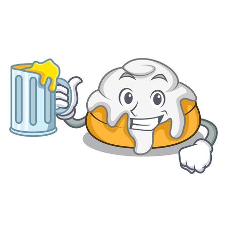 With juice cinnamon roll mascot cartoon