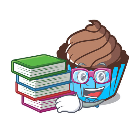 Student with book chocolate cupcake mascot cartoon
