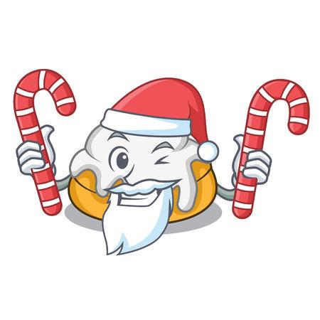 Santa with candy cinnamon roll mascot cartoon
