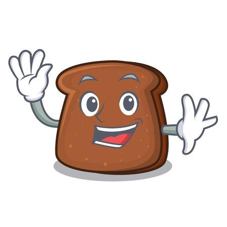 Waving brown bread character cartoon