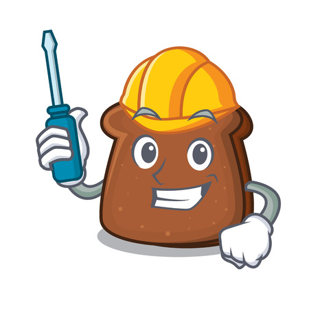 Automotive brown bread mascot cartoon
