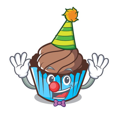 Clown chocolate cupcake mascot cartoon