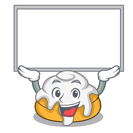 Up board cinnamon roll character cartoon Illustration