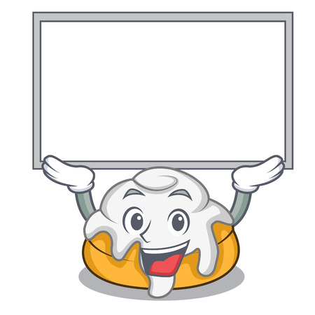Up board cinnamon roll character cartoon Illustration