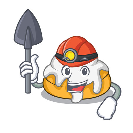Miner cinnamon roll mascot cartoon 일러스트