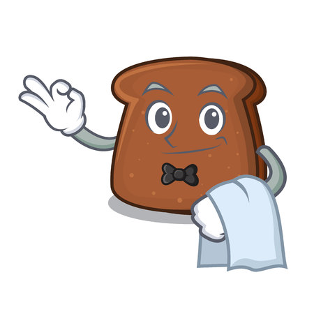Waiter brown bread mascot cartoon 矢量图像
