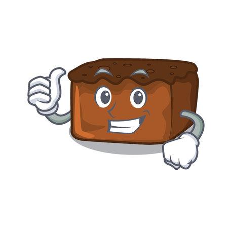 Thumbs up brownies character cartoon style vector illustration