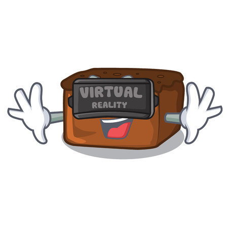 Virtual reality brownies mascot cartoon style vector illustration