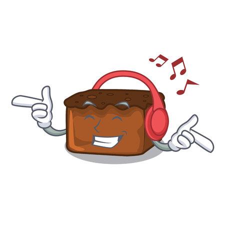 Listening music brownies mascot cartoon style vector illustration