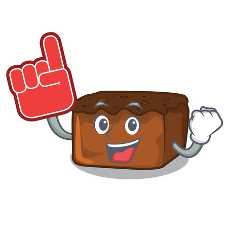 Foam finger brownies mascot cartoon style vector illustration 일러스트