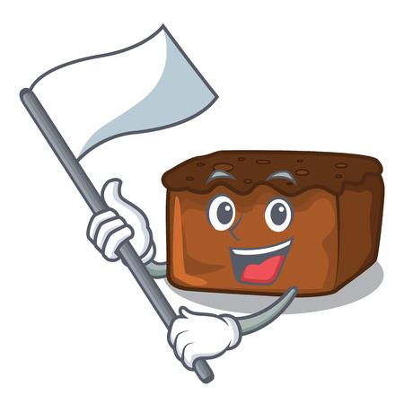 With flag brownies mascot cartoon style vector illustration Çizim