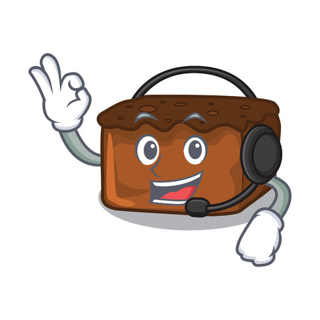 With headphone brownies mascot cartoon style vector illustration