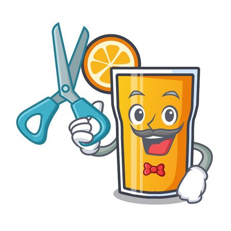 Barber orange juice character cartoon vector illustration