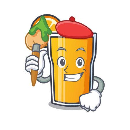 Artist orange juice character cartoon vector illustration Ilustração