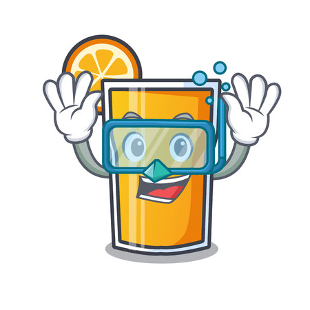 Diving orange juice character cartoon vector illustration