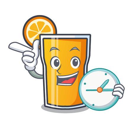 With clock orange juice character cartoon vector illustration