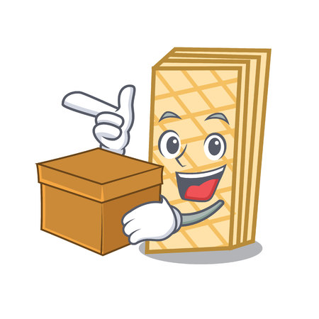 With box waffle character cartoon style