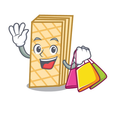 Shopping waffle character cartoon style Illustration