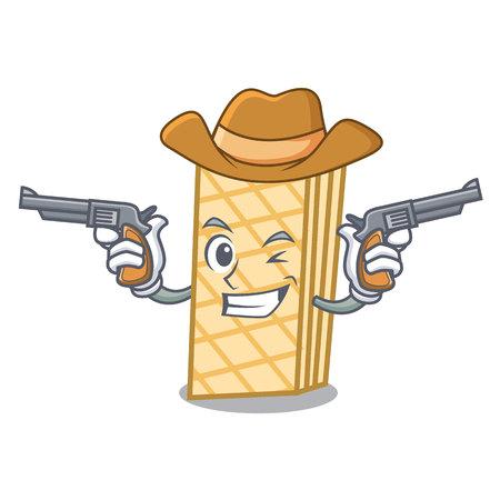Cowboy waffle character cartoon style