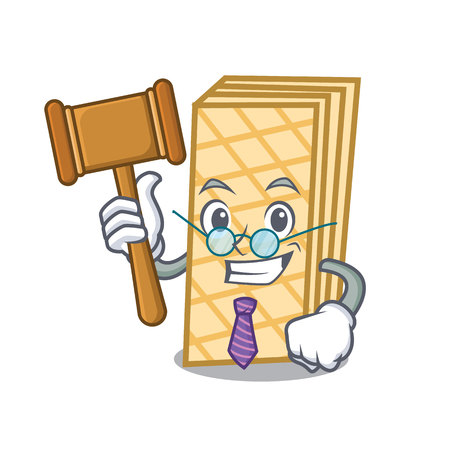 Judge waffle mascot cartoon style Illustration