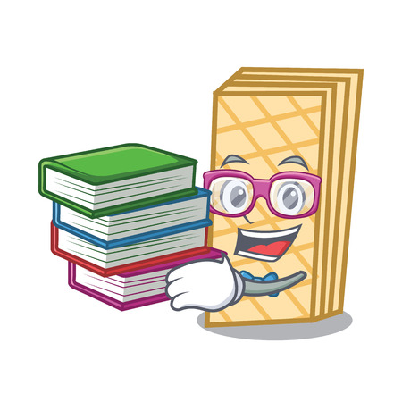 Student with book waffle mascot cartoon style
