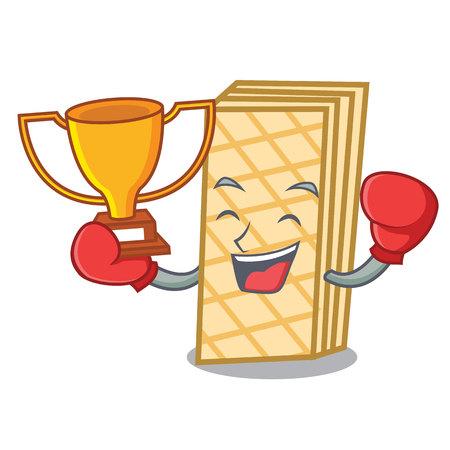 Boxing winner waffle mascot cartoon style