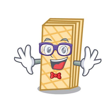 Geek waffle character cartoon style