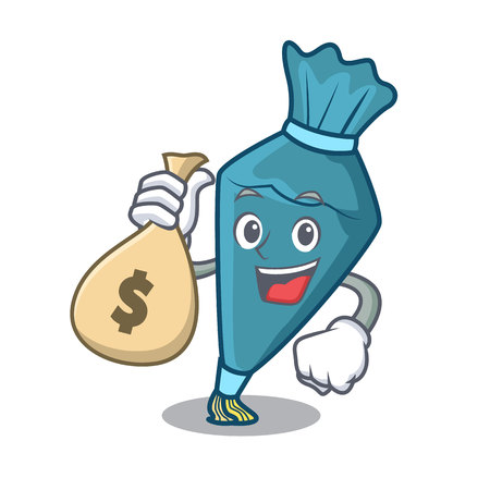 With money bag pastry bag character cartoon style