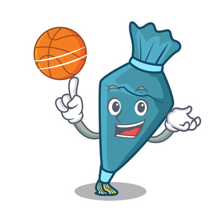 With basketball pastry bag character cartoon style