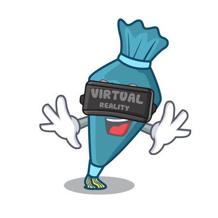 Virtual reality pastry bag mascot cartoon style