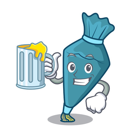 With juice pastry bag mascot cartoon style Illustration